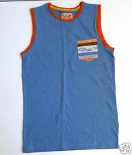 Boy's Sleevesless Vest Top- Blue with Orange Trims- Age 11 Years- NEW