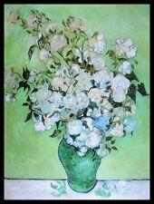 Vincent van Gogh Vase mit Rosen Poster Bild Kunstdruck im Alu Rahmen 80x60cm