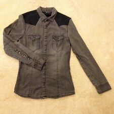 H&M Dark Denim w/Black Suede Shoulder Button Down Shirt, Young Mens Size XS