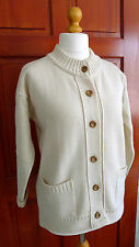 90's VINTAGE GUERNSEY WOOLLENS FISHERMAN STYLE WOOL CREAM CARDIGAN UK 40 VGC