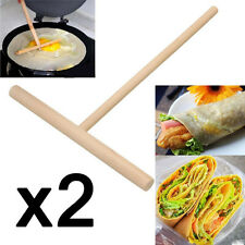 2X Wooden Rake Round Batter Pancake Crepe Spreader Kitchen Tool Kit 15cm Useful%