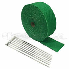 "2"" X 25' Green HEAT WRAP / STAINLESS CABLE ZIP TIE STRAPS EXHAUST PIPE HEAVY NEW"