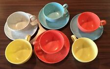 VINTAGE MELAMINE CUP SAUCERS BLUE ORANGE YELLOW SPECKLED MELMAC CONFETTI LOT 10