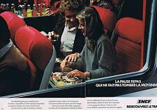PUBLICITE ADVERTISING 045 1979 SNCF la pause repas  (2 pages)