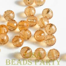 Hot 20pcs 8mm 96 Facets Round Loose Spacer Glass Beads Bulk Topaz