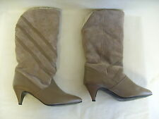 Ladies Boots - Unknown, size 6, light brown, leather & suede, 80's - 3028