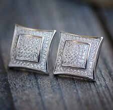 Mens 14k White Gold Finish RealSilver Square Kite Lab Diamond Earrings Studs