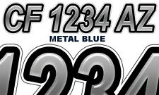 Blue Metal Boat Registration Numbers PWC Decals Stickers Graphics CF, NV AZ