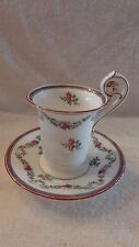 Spode Copeland English Tea Cup Saucer Blue Red flowers Birds Head on Handle