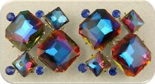 Beads Glass Facets Blue Rainbow Sapphire Swarovski Crystal Elements ~2 Hole 2pc