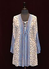 B0 NEW FREE PEOPLE Rain Or Shine Printed Ivory Multicolor Mini Dress Size M $128