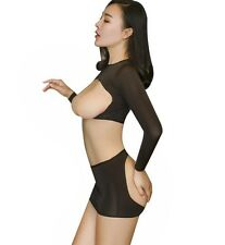 Sexy Opaque Cupless Long Sleeve Top Blouse with Open Buttock Micro Mini Skirt