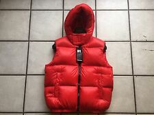 DSQUARED2 RED DOWN BOMBER HOODED VEST JACKET WITH BLACK LEATHER LOGO  52 L