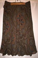 NWT $139.00 RALPH LAUREN  floral print silk chiffon Skirt SZ 8 brown A Line
