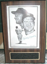 MICKEY MANTLE PENCIL ART AUTOGRAPHED IN INK CO-SIGNED BY ARTIST JERRY HERSCH