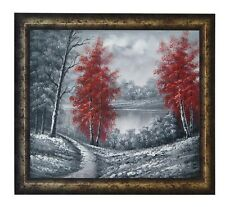 FRAMED LANDSCAPE HAND PAINTED OIL PAINTING OF RED TREES IN BLACK AND WHITE SCRUB