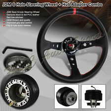 For 1990-2005 Mazda Miata 350MM Black / Red PVC Deep Dish Steering Wheel + Hub