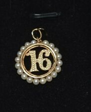 CW39       14k GOLD  VITAGE NUMBER 16 WITH 3MM PEARLS AROUND #16  PENDANT CHARM