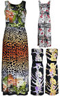 Womens Floral Print Ladies Sleeveless Full Long Jersey Tie Maxi Dress Plus Size