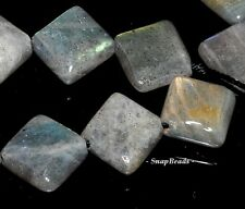 12MM LABRADORITE GEMSTONE AB DIAGONAL DRILL DIAMOND SQUARE LOOSE BEADS 15.5""