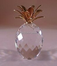 SWAROVSKI CRYSTAL SMALL GOLD PINEAPPLE 012726 MINT BOXED RETIRED RARE