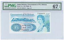 1998 (ND) Saint St. Helena 5 Pounds Bank Note Bill - Pick# 11a - PMG UNC 67 EPQ