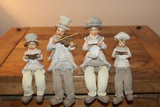 WHITE Christmas Decoration - 4 Shelf Sitter Carol Singers w dangling legs family