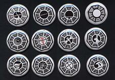 LOST DHARMA TWELVE  badge button pins set  - COOL!