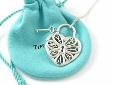 Tiffany & Co Silver Huge XL XLarge Filigree Heart Key 24 Inch Chain Necklace!