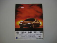 advertising Pubblicità 1988 PEUGEOT 405 TD TURBODIESEL