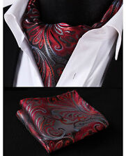 RF403R Red Flroal 100% Silk Cravat Woven Ascot Hanky Handkerchief Set