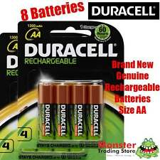 8 PCS DURACELL AA RECHARGEABLE BATTERIES 2x4PK LONG LASTING BATTERY GENUINE/NEW