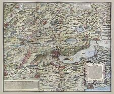 MAP ANTIQUE MURER 1566 ZURICH CANTON HISTORIC LARGE REPLICA POSTER PRINT PAM1148