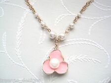"*BLUSH BLOSSOM FLOWER PEARL* Rose Gold Plated 18"" Necklace VINTAGE STYLE Peach"