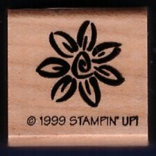 DAISY FLOWER Swirl DESIGN Stampin' Up! Gift Tag Craft Wood Mount RUBBER STAMP