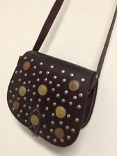 Moroccan Rustic 100% Leather Handbag Vintage Coins Decorated Purse Bag Brown