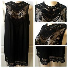 WOMENS PLUS DRESS 1X NEW BLACK LACE TUNIC TOP XL 14 16 NWT GORGEOUS SPRING DEAL