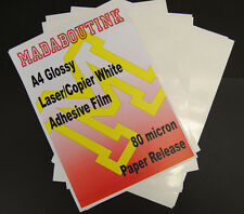 10 A4 Laser Printer White Adhesive Sticker Film Sheets 80mic Paper Release
