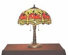 "18"" Shade-Tiffany-style DRAGONFLY Red-Yellow Desk/Table Lamp / lamps / light"