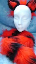 The Cheshire Cat Fancy Dress Ears And Tail Red And Black Stripe Fur Long Tail