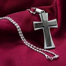 Classic Style Women Men  A+ Titanium Steel Cross Pendant Necklace 24''