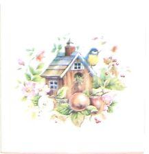 "Bird House Ceramic Tile With Apple and Bird 4.25"" x 4.25"" Kiln Fired Decor"