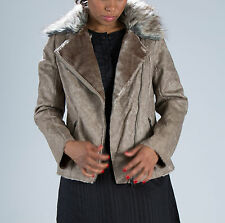 WOMENS LADIES WAIST LENGTH ZIP DISTRESSED FAUX LEATHER FUR COLLAR JACKET COAT