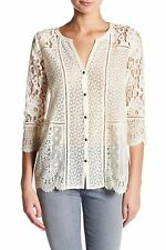 Lucky Brand - L - NWT - Birch Ivory Lace Mixed Media 3/4 Sleeve Knit Top Blouse