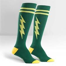 Sock It To Me Women's Funky Knee High Socks - Super Hero! Green & Gold