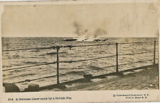 c1917 RPPC World War One WWI German Ship Bombed by British Ship Unused Postcard