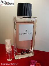 D&G 3 L'IMPERATRICE Eau de Toilette for Her 3 ml glass Spray sample