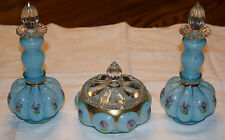 Fenton Blue Overlay Painted Pansy 6 pc. Vanity Dresser Cologne & Powder Box Set