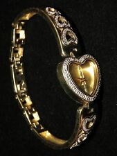 UNIQUE DANBURY MINT DIAMOND FIRE GOLD OVER STERLING SILVER HEARTS DIAMOND WATCH