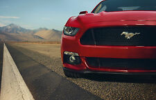 Framed Print - Red Mustang on the Side of an American Highway (Picture Car Art)